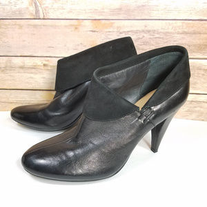 Coach Annika Black Leather Suede Ankle Booties